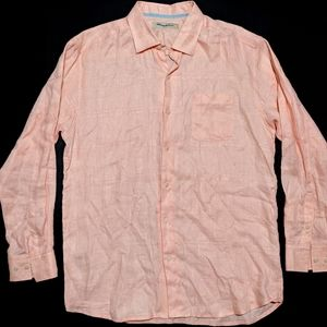 Tommy Bahama Mens Linen Long Sleeve Shirt Peach